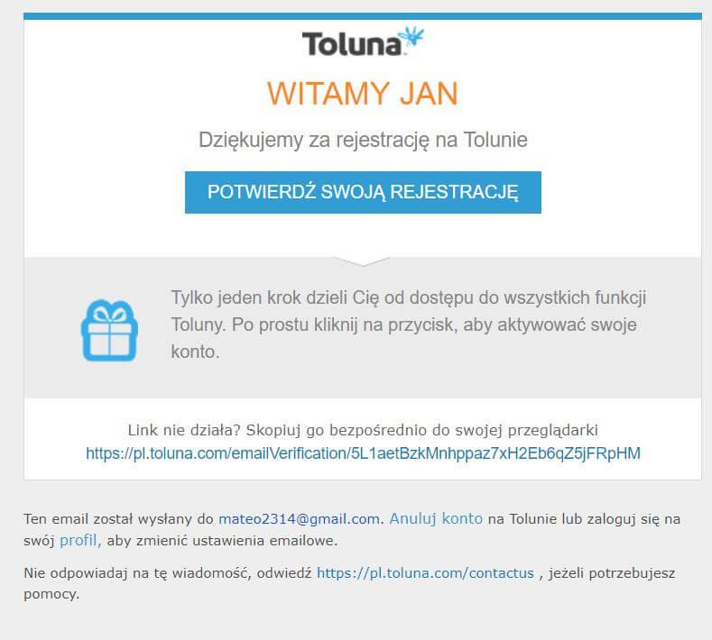 wiadomość rejestracyjna w toluna.com