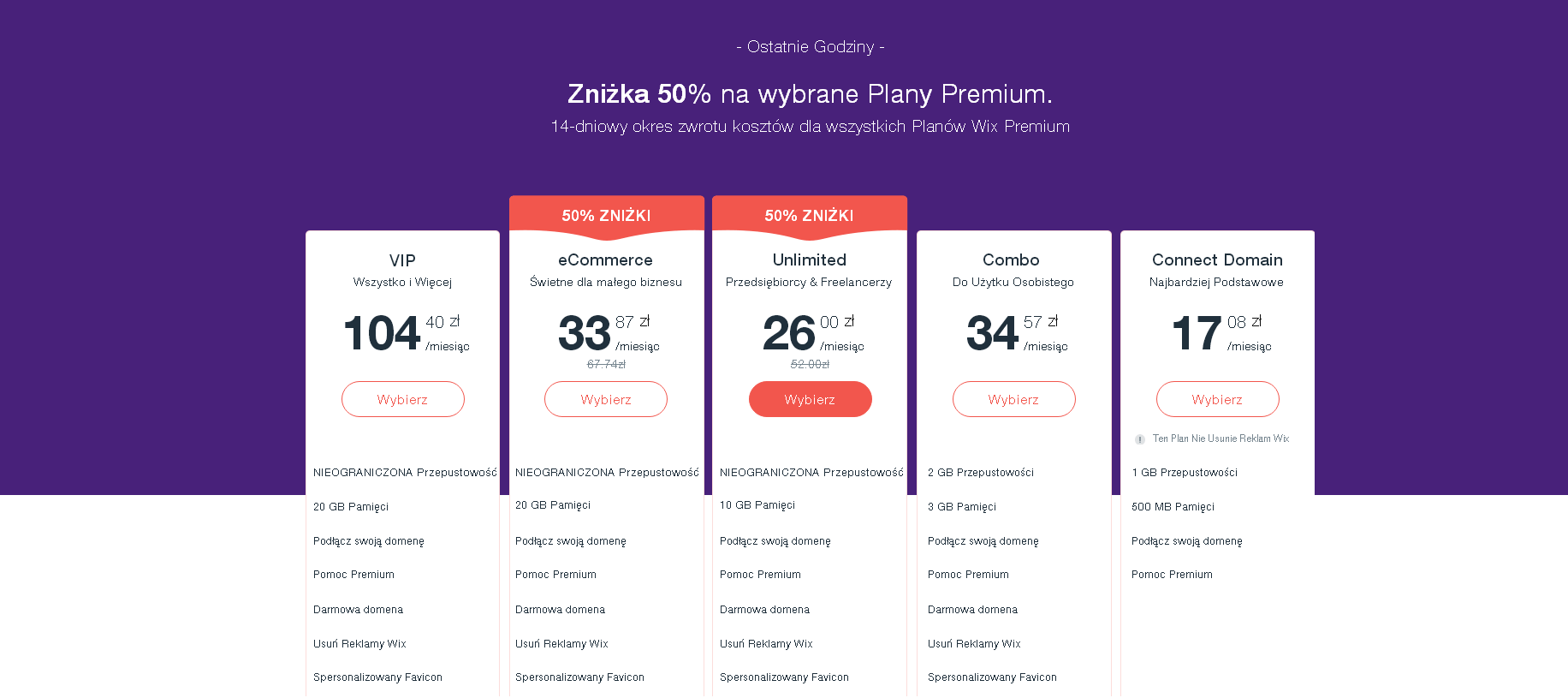 wix plany cenowe za strony www
