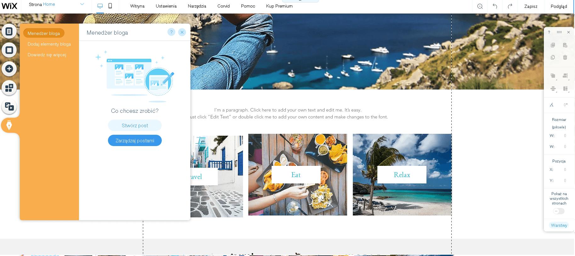 wix stworzenie bloga internetowego