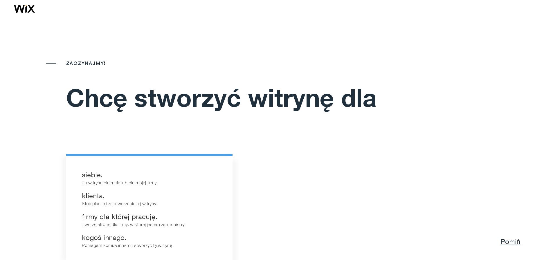 wix stworzenie strony www